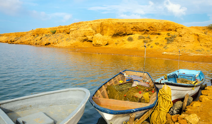 Boats and beaches in Punta Gallinas, Colombia