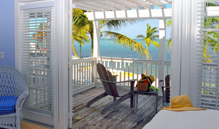 A balcony overlooking the sea at Tranquility Bay Resort, Florida Keys, USA