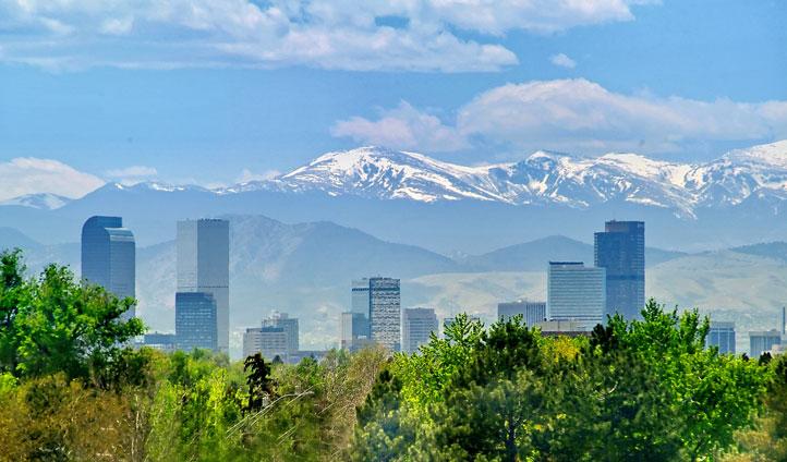 Denver skyline with Rocky Mountains, Colorado