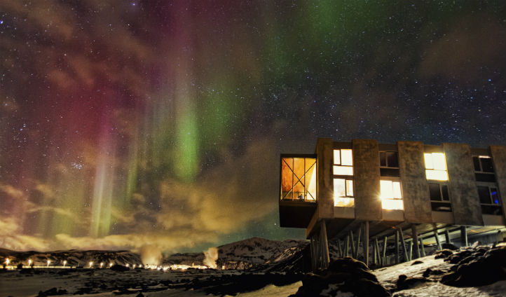 Gaze up at the Northern lights from your hotel room