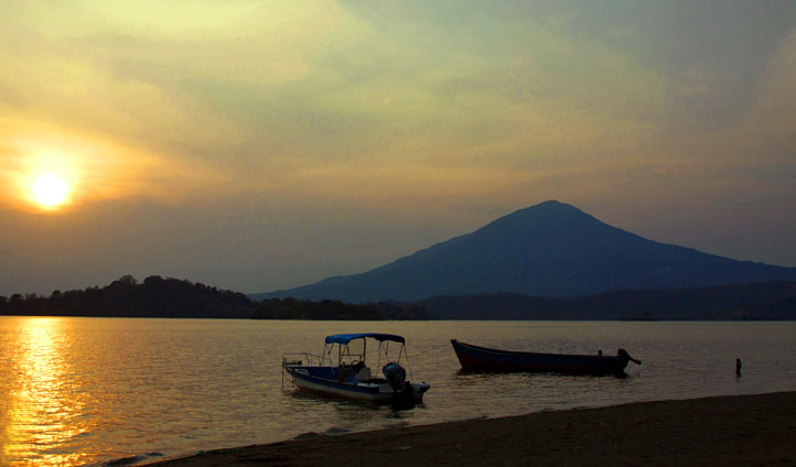 The sun sets over Lake Nicaragua