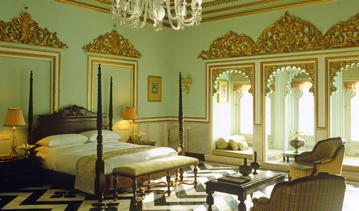 Your guest room at the Taj Lake Palace