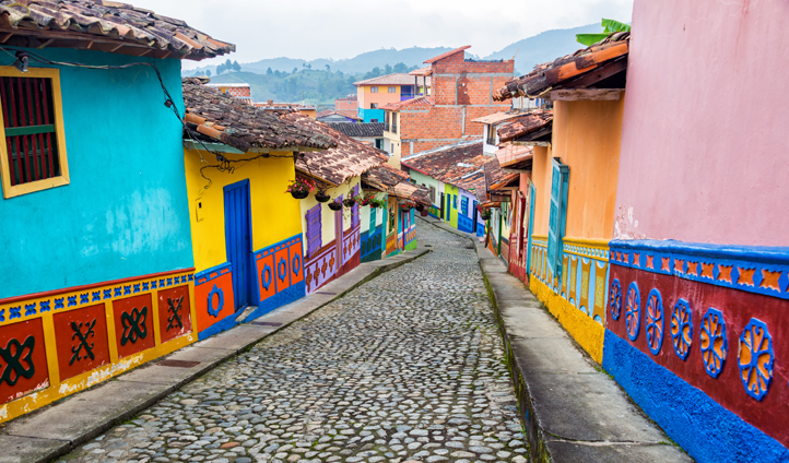 Colourful streets in Colombia's city