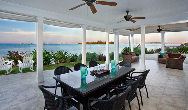 An outdoor dining area, Sunset Key Resort, Florida Keys, USA