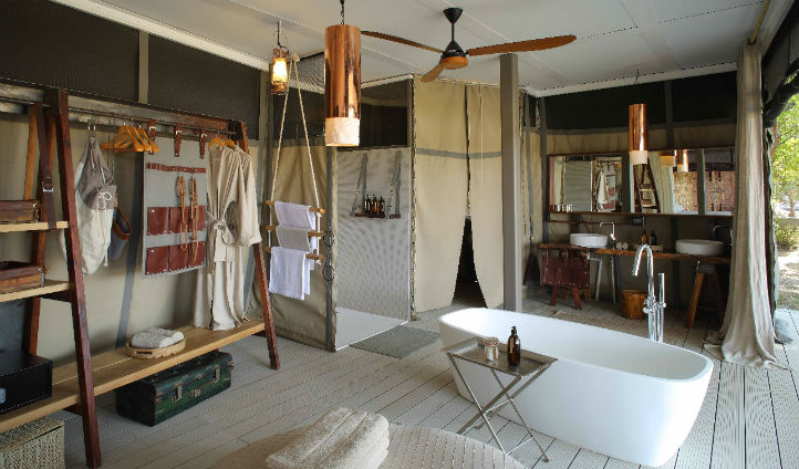 Sustainably sourced materials have been used to create traditional bush bathrooms