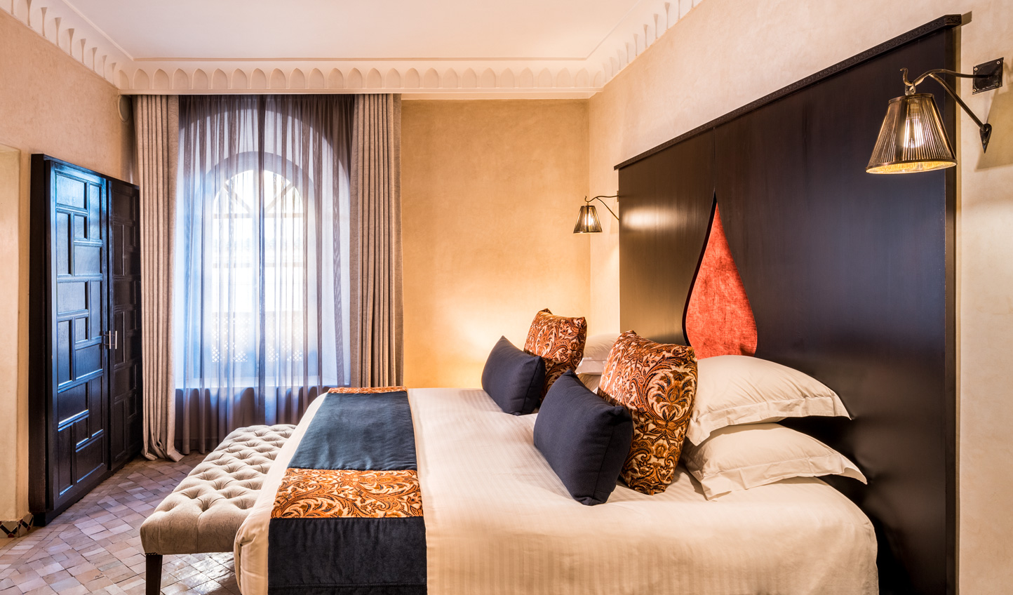 Traditional design is given a modern update in the guestrooms at Riad Fes