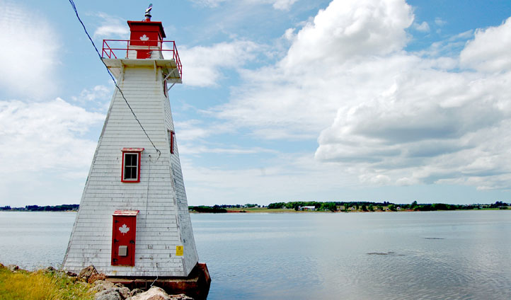 A lighthouse next to the waters of Prince Edward Island, Canada
