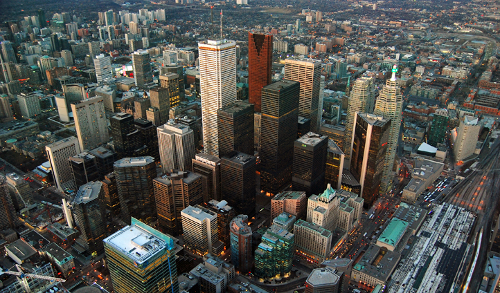 A bird's eye view of Toronto in Canada