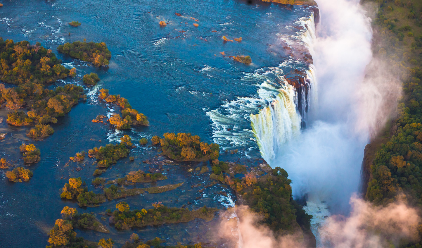 Take a helicopter ride over the mighty Victoria Falls