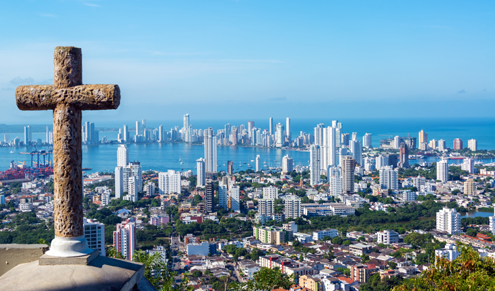 A view from above Cartagena, Colombia