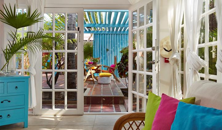 Colourful interiors of the Boardwalk Hotel Aruba