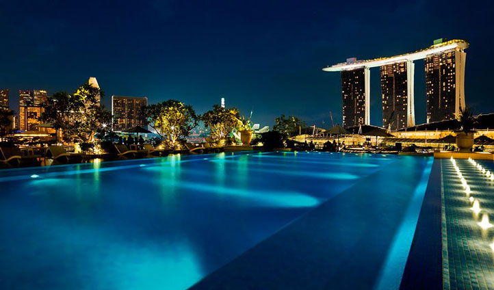 Enjoy the sweeping views of the Singapore skyline in the rooftop pool