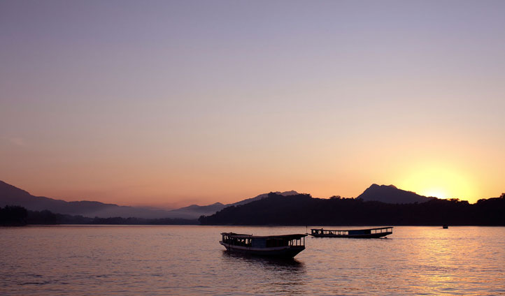Gaze upon the Mekong river at sunset