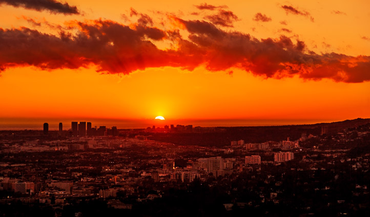 The sun sets over Los Angeles, USA
