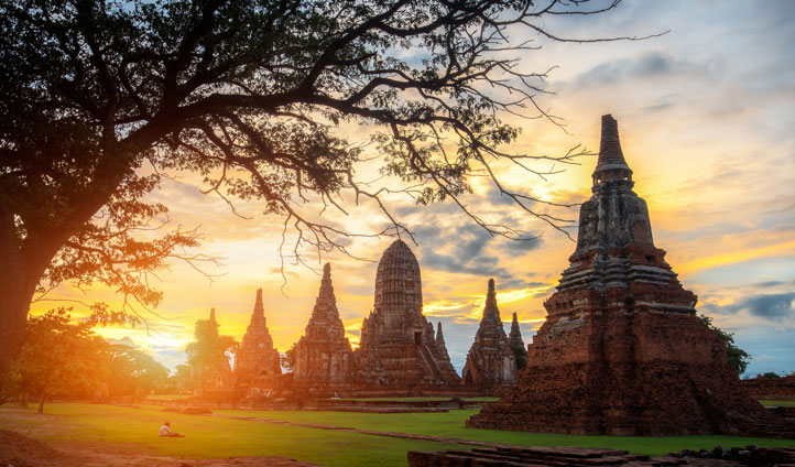 Admire the exquisite sunsets over the temple sites