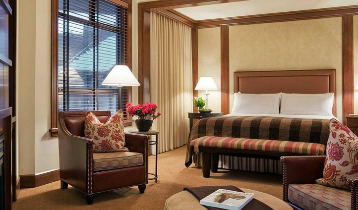 A bedroom at the Four Seasons, Whistler, Canada