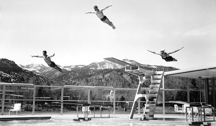 Swimming divers, The Broadmoor