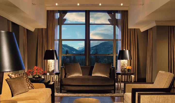 A lounge area at the Four Seasons, Whistler, Canada