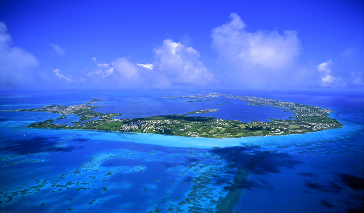 An aerial view of Bermuda