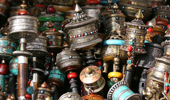 Browse the prayer wheels at the markets in Thimpu