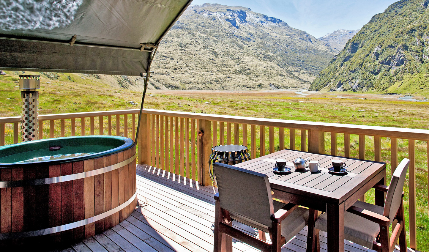 Relax after a day on the bike with a soak in your private hot tub