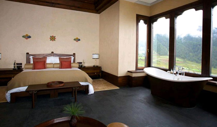 Drift away in your king sized bed at the Gangtey Gonepa Lodge