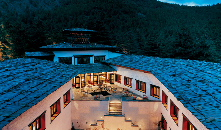 Relax and reflect after a tranquil day in the traditional courtyard at Uma Punakha