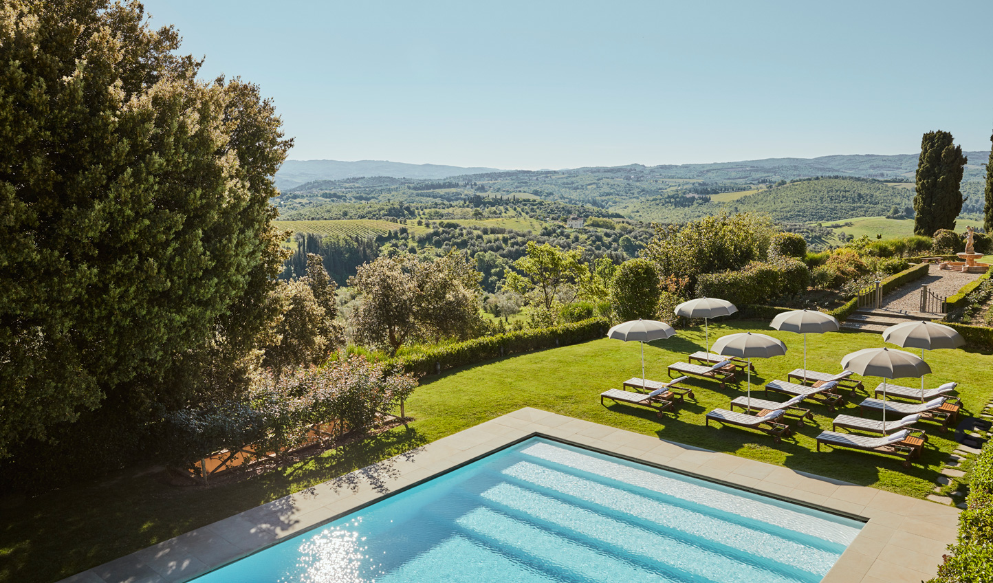 Soak in the Tuscan sun from the poolside