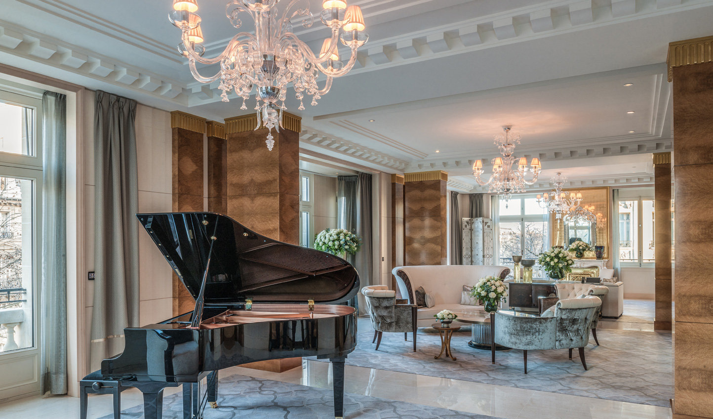 The Peninsula Suite complete with grand piano