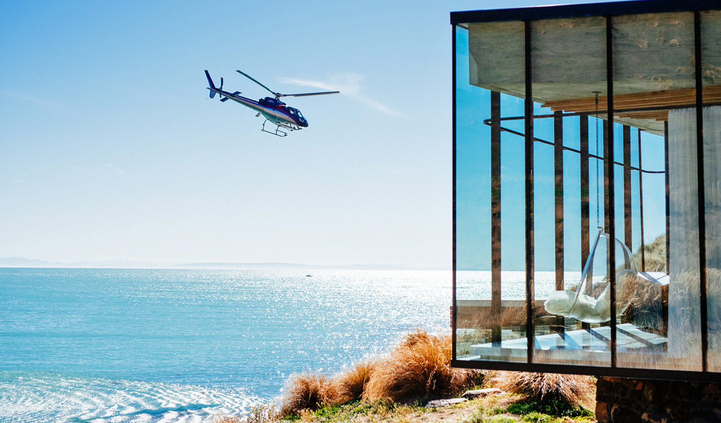 Helicopter arrival to the ultra-modern Seascape