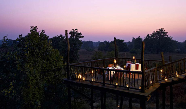 Dine at sunset at Samode Safari Lodge.