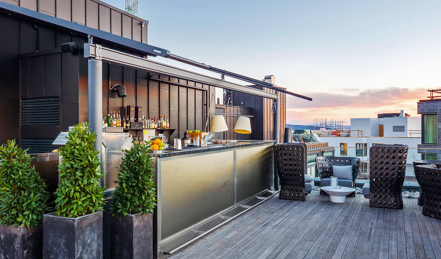 Head upstairs for a cocktail with views across the city