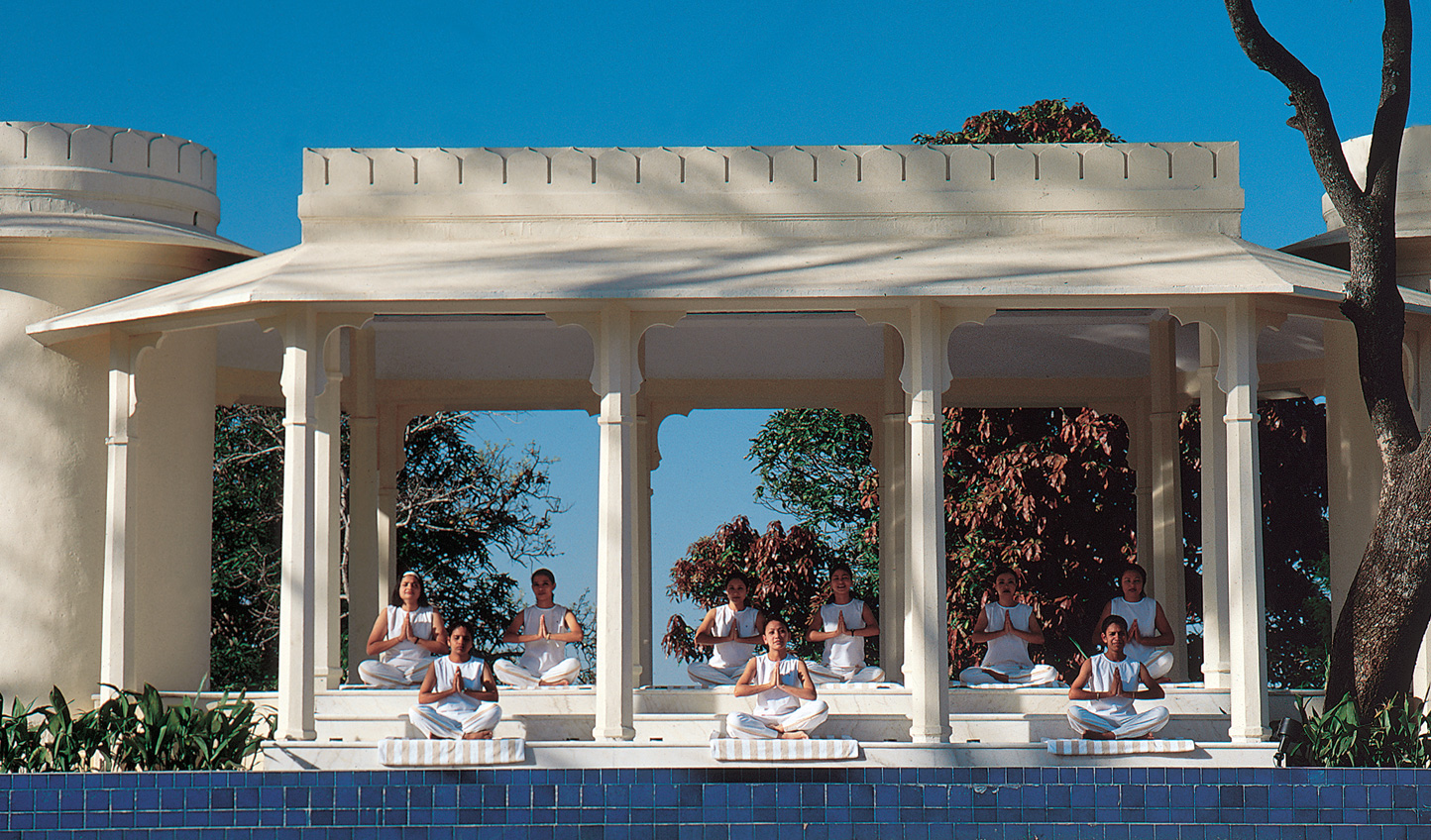 Join yogi masters for a class in the outdoor pavilion