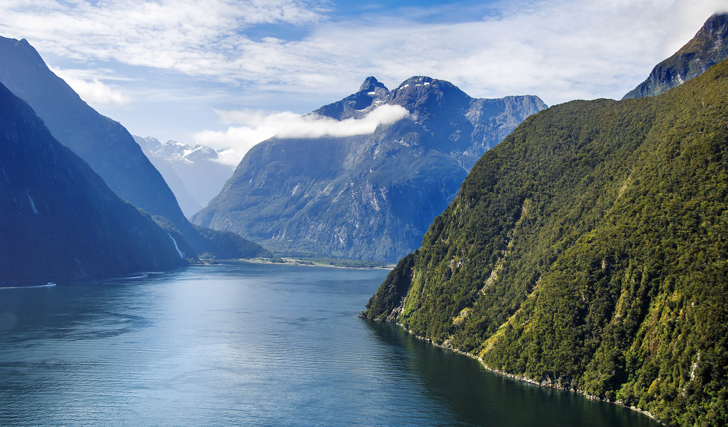 Take to the skies in a helicopter flight over Milford Sound