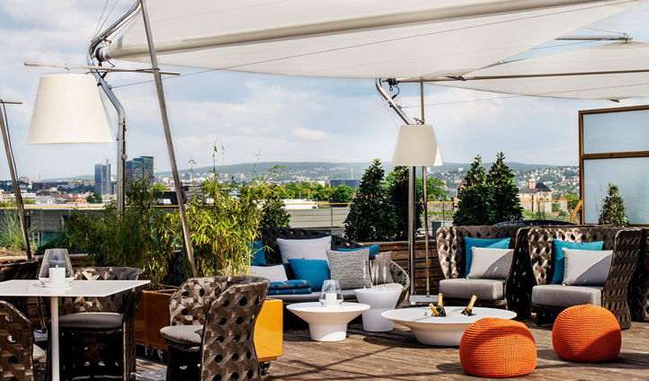 The rooftop terrace at The Thief has some of the best views of the city