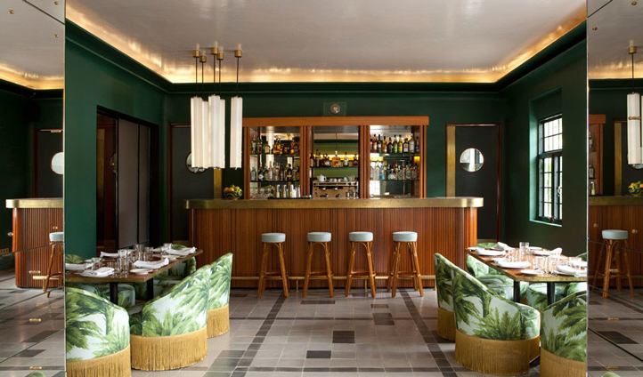 The restaurant offers energising green interiors