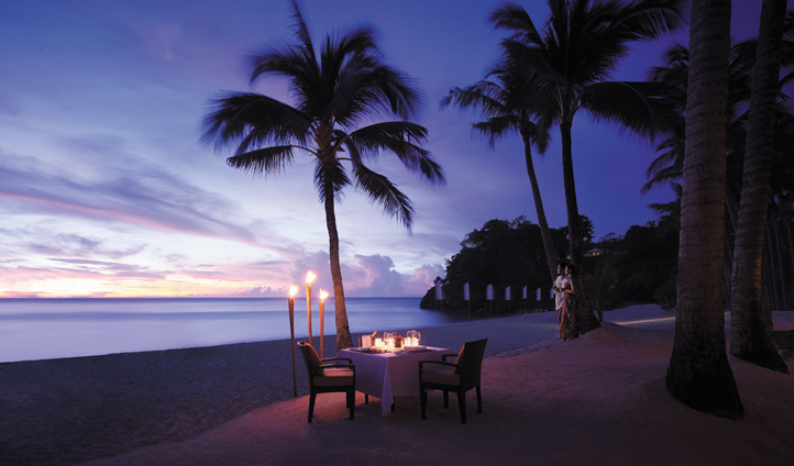 An intimate beach setting for a romantic dinner