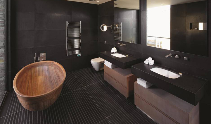Take a soak in your wooden bathtub