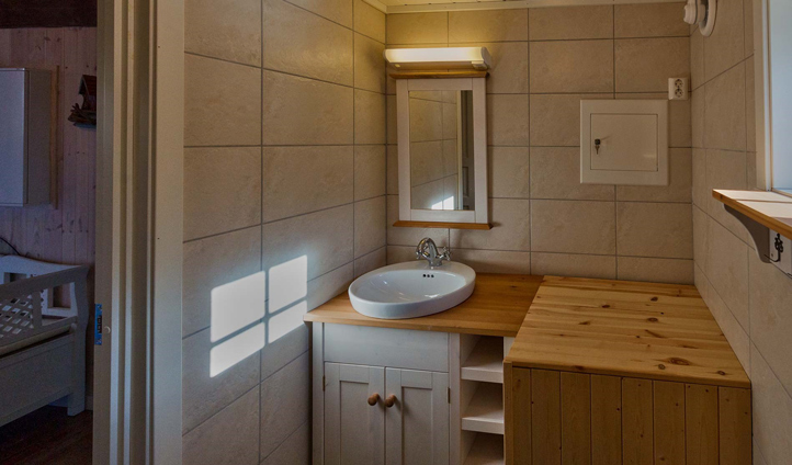 Your wood-decked bathroom