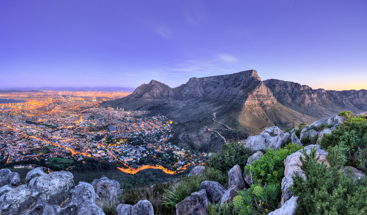 Sunset views over Cape Town, South Africa