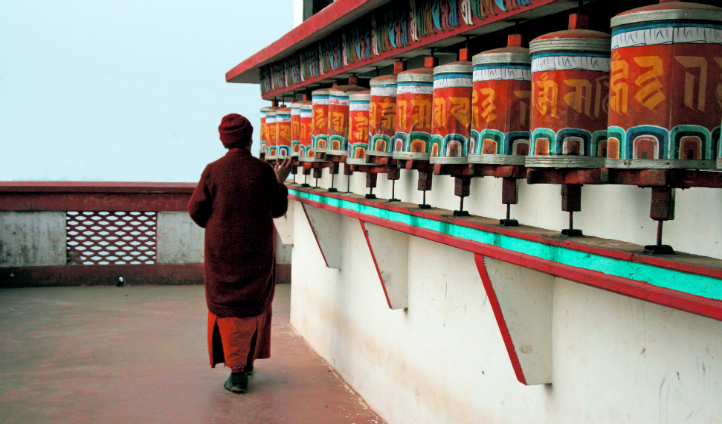 See traditional Buddhist Prayer Wheels at a local monastery