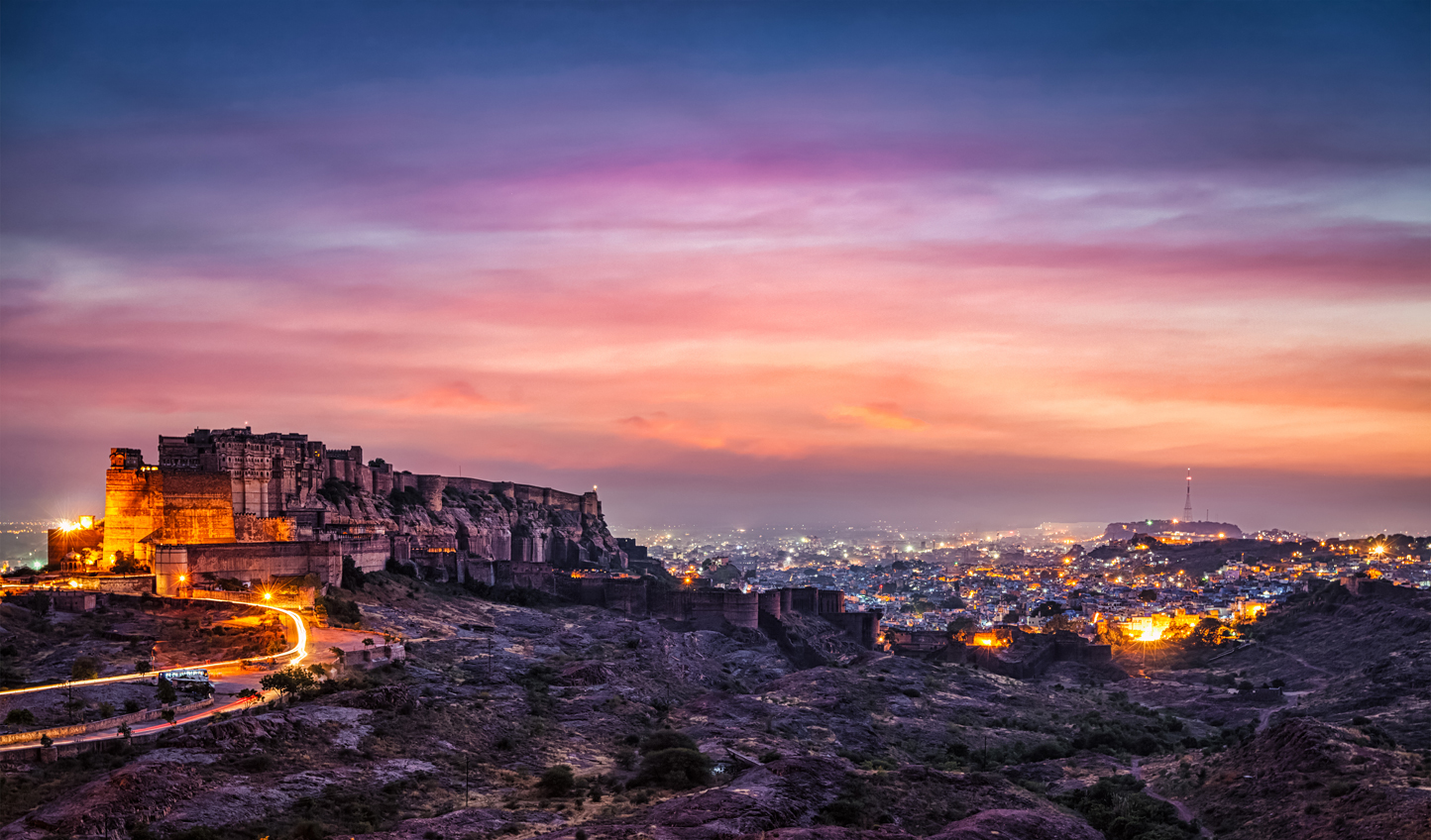 See the iconic Mehrangarh Fort lit up by twilight