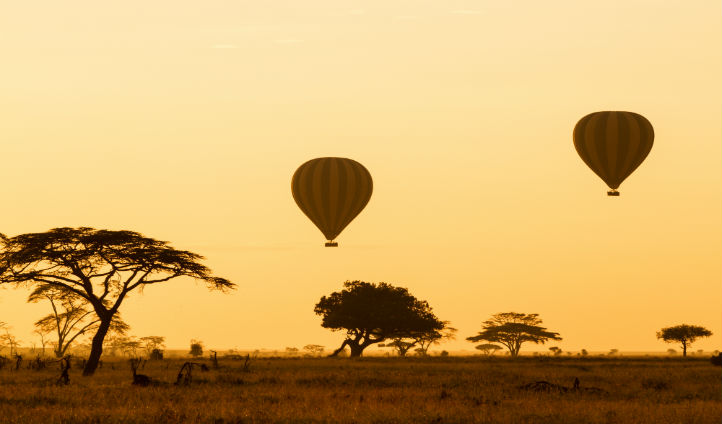 Hot air balloons over Serengeti
