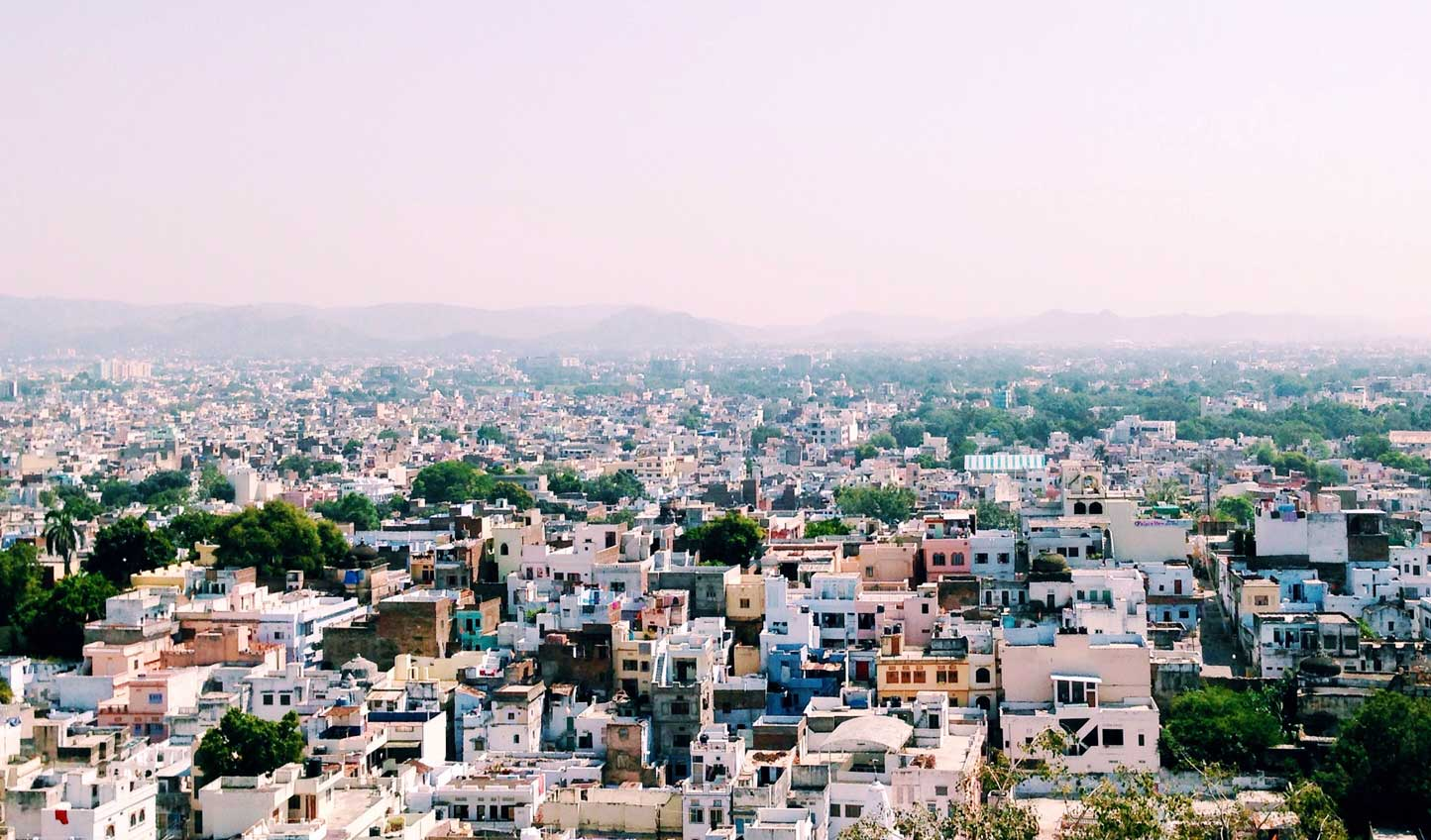 The pastel-hued skyline of Udaipur