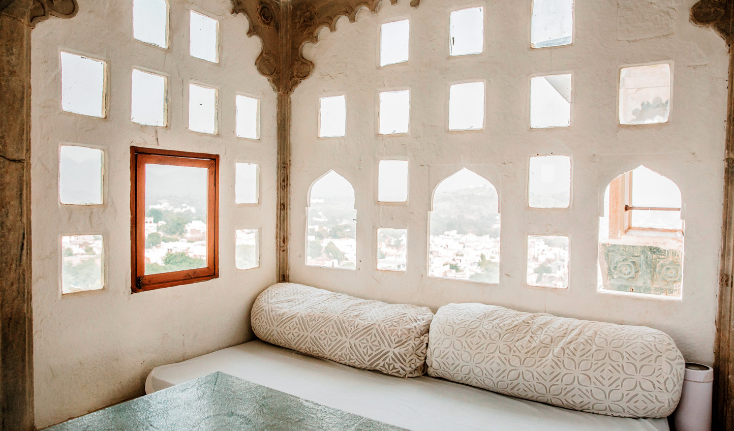 Gaze out over the surrounding landscapes from the authentic porticoes