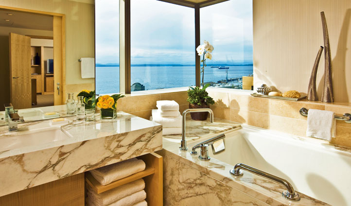 A luxury bathroom at the Four Seasons, Seattle