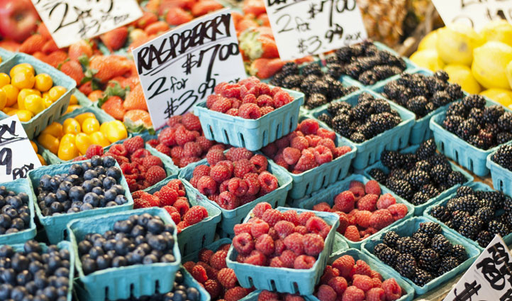 Fresh berries at a market in Seattle
