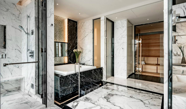 The Presidential Suite's bathroom exudes luxury
