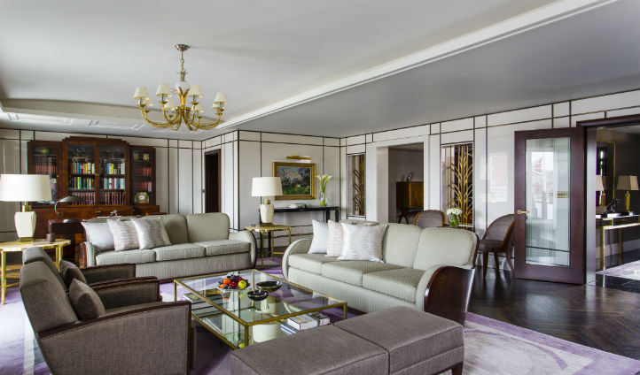 The opulent sitting room of the Roosevelt Suite.