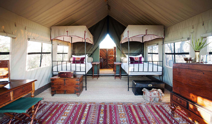 The twin tent has beautiful furniture